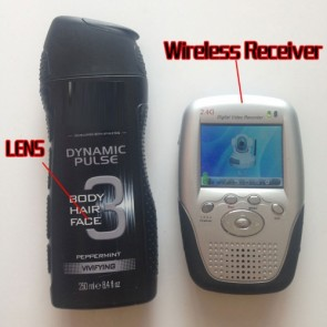 Wireless shower Spy Camera Black Men's Shower Gel Mini Secret Pinhole Camera 2.4GHZ Motion Detection Recorder